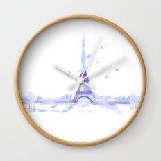 Watercolor landscape illustration_Eiffel Tower Wall Clock