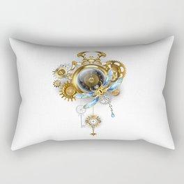 Steampunk Clock with Mechanical Dragonfly Rectangular Pillow