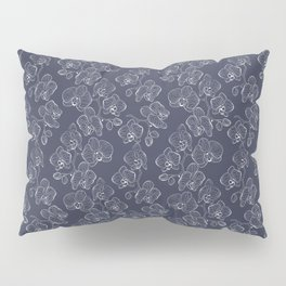 Retro . Orchid flowers on a blue background . Pillow Sham