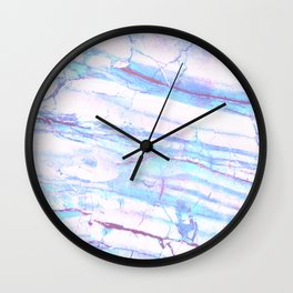 Pastel Marble with Blue Green Purple Wall Clock