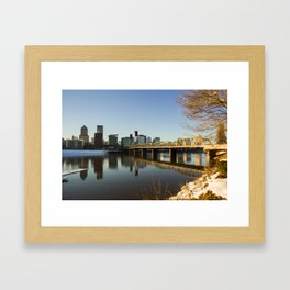 Downtown Portland Winter Wonderland Framed Art Print