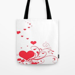Red Valentine Hearts on A White Background Tote Bag