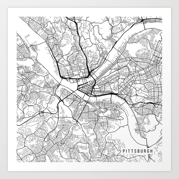 Pittsburgh Map USA Black and White Art Print by mainstreetmaps