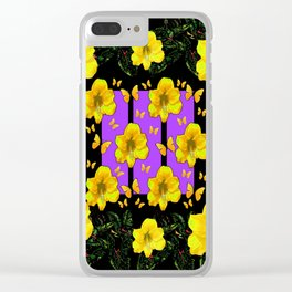 BLACK ART  YELLOW AMARYLLIS FLOWERS BUTTERFLY FLORAL Clear iPhone Case