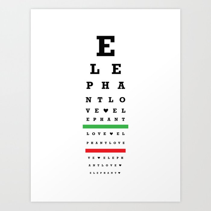 Elephant Love Eye Chart Art Print