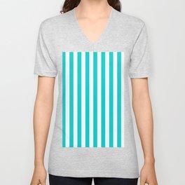 Narrow Vertical Stripes - White and Cyan Unisex V-Neck