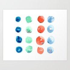 Abstract Watercolor Dots Art Print