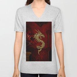 Wonderful golden chinese dragon Unisex V-Neck