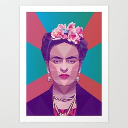 Frida Kahlo Low Poly Collection Art Print