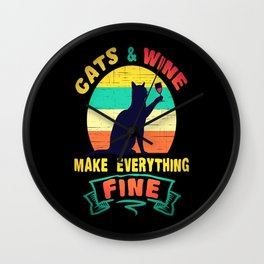 Cats funny cat wine red wine gift wine Wall Clock