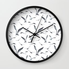 Flying Seagulls over the Ocean - Maritime Pattern - Mix & Match with Simplicity of life Wall Clock