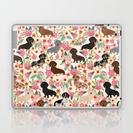 Dachshund floral dog breed pet patterns doxie dachsie gifts must haves Laptop & iPad Skin