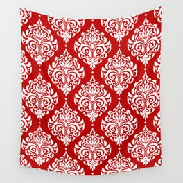 Red Damask Wall Tapestry