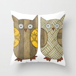 4 Gold Owls Throw Pillow