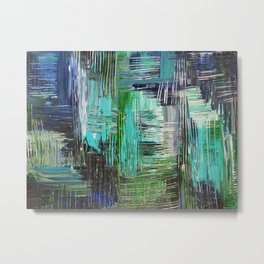 AQUATIC COMMOTION in Color - Textural Ocean Beach Nautical Abstract Acrylic Painting Wow Winter Xmas Metal Print