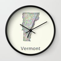 vermont Wall Clocks featuring Vermont map by David Zydd
