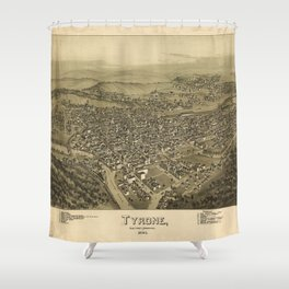 Aerial View of Tyrone, Pennsylvania (1895) Shower Curtain