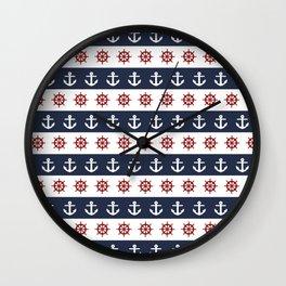 Ship Wheels & Anchors Wall Clock