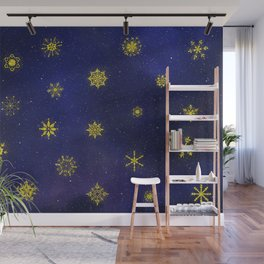 Golden Snowflakes in a Winter Night Sky Wall Mural