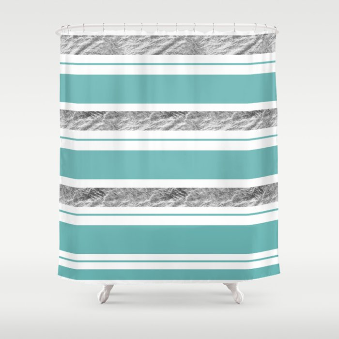 Aqua Blue Stripe With Silver Shower Curtain By Seafoam12
