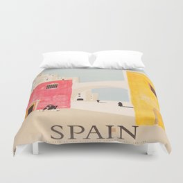 Spain Vintage Travel Poster Mid Century Minimalist Art Duvet Cover