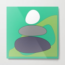 Abstract digital Zen balance art. Stack of stones on a green background Metal Print