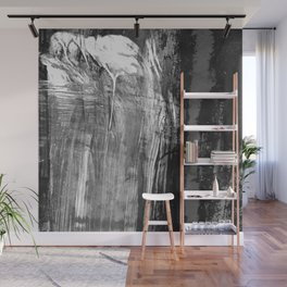 Ghost Town // black and white abstract ink painting Wall Mural