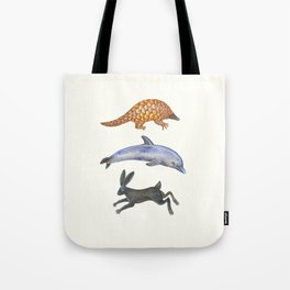 Pangolin, dolphin and a hare Tote Bag