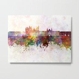 Trondheim skyline in watercolor background Metal Print
