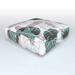 Pastel pink green white watercolor tropical floral brushstrokes Outdoor Floor Cushion