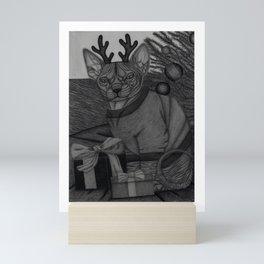 Hairless Cat on Christmas Mini Art Print