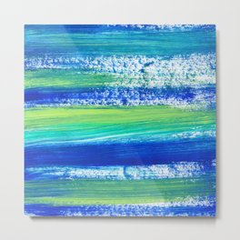 Blue Green and Teal Brushstrokes Metal Print