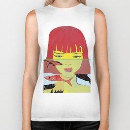 """Redhead Worry"" Paulette Lust's Original, Contemporary, Whimsical, Colorful Art Biker Tank"