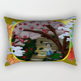 Woods turtles boy with a lamp Rectangular Pillow