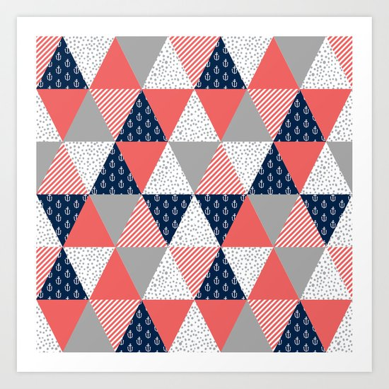 Quilt nautical navy and white modern trendy basic pattern print nursery pattern Art Print