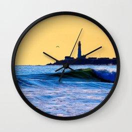 Golden Sunset On The California Coast - Pigeon Point Light Wall Clock