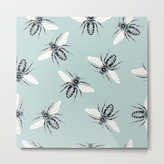 bees on blue Metal Print
