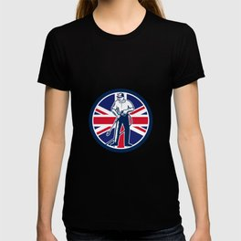 British Pressure Washing Union Jack Flag Circle Retro T-shirt