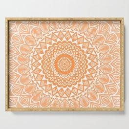 Orange Tangerine Mandala Detailed Textured Minimal Minimalistic Serving Tray