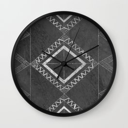 Scratched Ink b/w Wall Clock