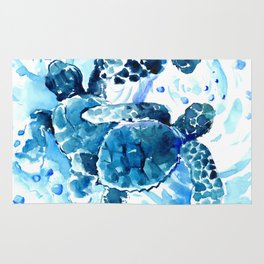 Three Sea Turtles, blue bathroom turtle artwork, Underwater Rug