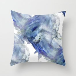 Soft abstract blue paint splotches Throw Pillow