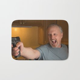 Angry Man with handgun in kitchen Bath Mat