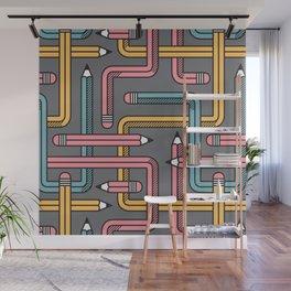 Pencil Maze Pattern pastel grey multi Wall Mural