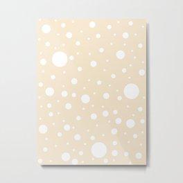 Mixed Polka Dots - White on Champagne Orange Metal Print