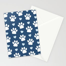 Dog Paws, Traces, Animal Paws, Hearts - Blue White Stationery Cards