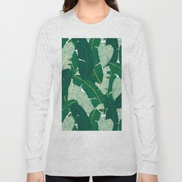 Classic Banana Leaves in Palm Springs Green Long Sleeve T-shirt