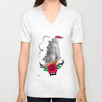 ship V-neck T-shirts featuring ship by mark ashkenazi