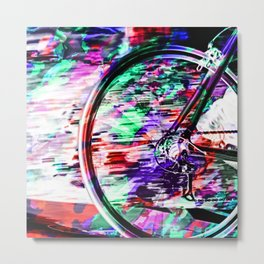 bicycle wheel with colorful abstract background in green red and purple Metal Print