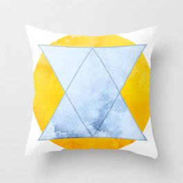 Blue And Yellow Geometric Design Throw Pillow